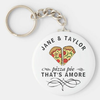 Love Pizza Personalized Keychain