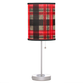 Love Plaid Modern Tartan Stripe Pattern Red Table Lamp