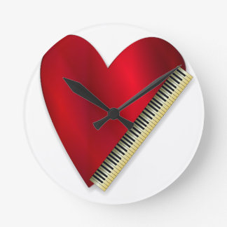 Love Playing Piano Round Clock