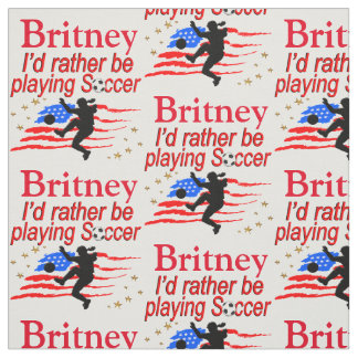 LOVE PLAYING SOCCER PERSONALIZED FABRIC