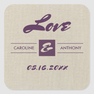 Love. Plum Burlap Texture Custom Wedding Stickers