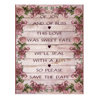 Love poem save the date postcard