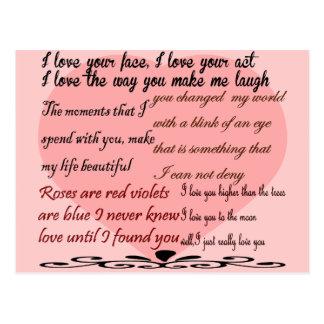 love poetry,love poems postcard