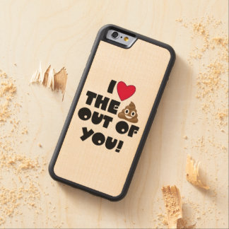 Love Poop Emoji Carved Maple iPhone 6 Bumper Case