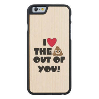Love Poop Emoji Carved Maple iPhone 6 Case