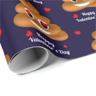 Love poop emoji Valentine's day wrapping paper