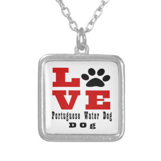 Love Portuguese Water Dog Dog Designes Silver Plated Necklace