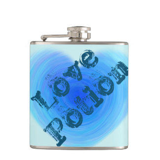 Love Potion Deep Blue Water Heart Funny Hip Flask