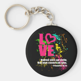 Love Proverbs Bible Verse Neon Paint Splatter Basic Round Button Keychain