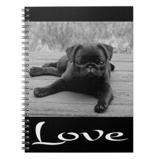 Love Pug Puppy Dog Black Notebook / Journal