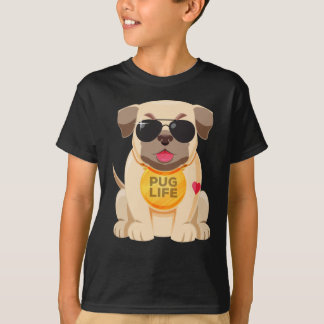 Love Pug Puppy Dog Cartoon Boys T-Shirt