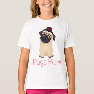 Love Pug Puppy Dog Cartoon Girls T-Shirt