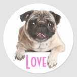 Love Pug Puppy Dog Greeting Stickers