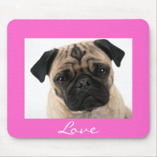 Love Pug Puppy Dog Portrait Pink Mousepad