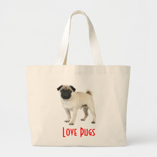 Love Pugs Puppy Dog Canvas Beach Totebag Large Tote Bag