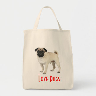 Love Pugs Puppy Dog Canvas Grocery Totebag