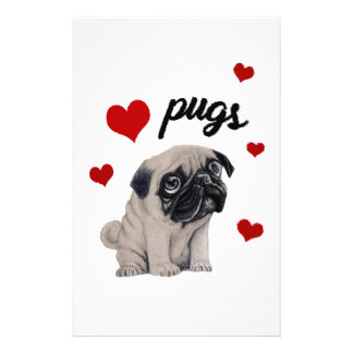 Love pugs stationery paper