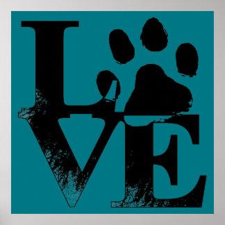 LOVE Puppy Dog Paw Print on Blue Background
