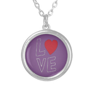 LOVE Purple Love Silver Plated Necklace