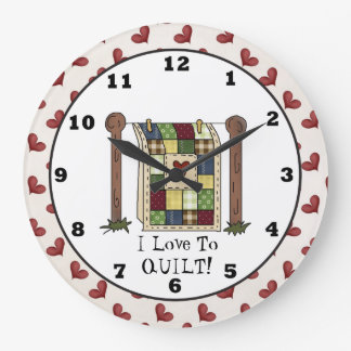 Love Quilting cartoon wall clock