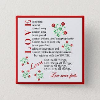 Love Quote | 1 Corinthians 13 4-8 2 Inch Square Button
