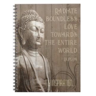 Love Quote Inspiring Buddha Art Buddhist Saying Spiral Notebook