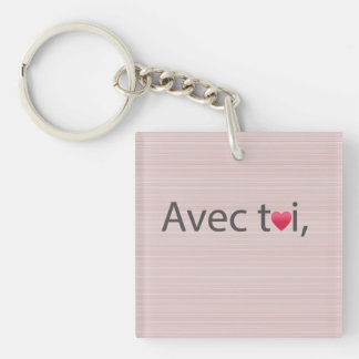 Love quote pink and gray stripes keychain