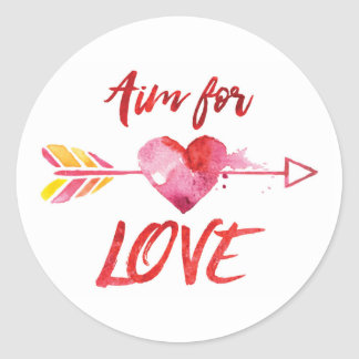 LOVE Quote with Heart & Arrow - Round Sticker