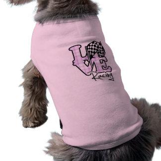Love Racing; Checkered Flag Doggie T Shirt