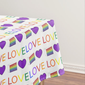 LOVE Rainbow Gay Pride Cake LGBT Wedding Decor Tablecloth