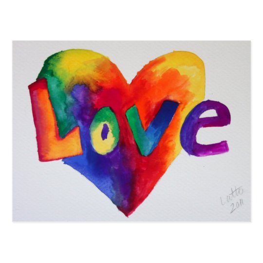 Love Rainbow Heart Watercolor Art Postcard