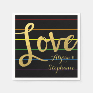 Love Rainbow Pinstripe LGBT Faux Gold Foil Disposable Napkin