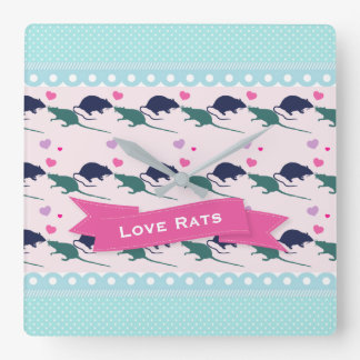 Love Rats Polka Dot Square Wall Clock