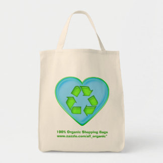 Love Recycling Ocean Heart Tote Bag Promo