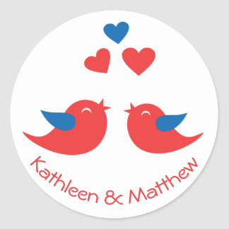 Love Red And Blue Lovebirds Wedding Love Hearts Classic Round Sticker