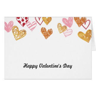 Love Red & Gold Hearts Card