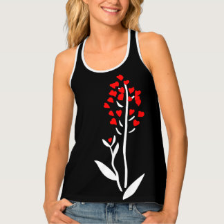 Love red heart flower funny black customizable tank top