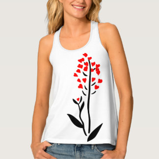 Love red heart flower funny customizable tank top