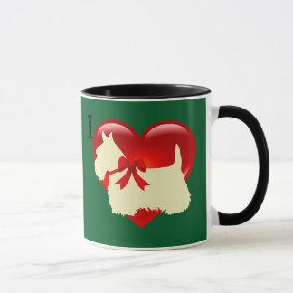Love/red heart Scottish Terrier, Kelly/Irish green Mug
