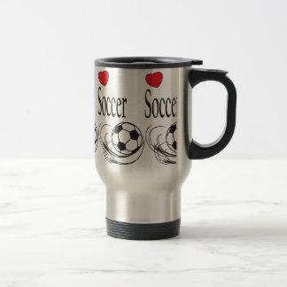 Love Red Heart Soccer Ball Travel Mug
