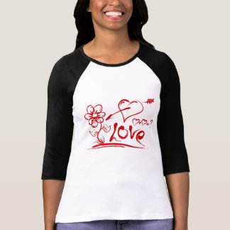 Love Red Hearts Daisy Flower Ladies Shirts