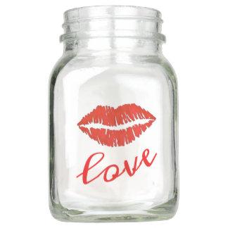 LOVE Red Lips Lipstick Kiss Valentine's Day Kisses Mason Jar