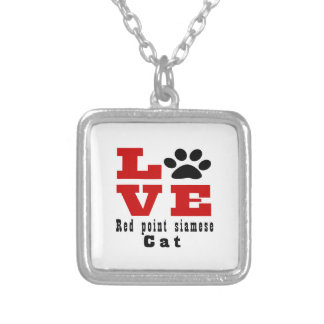 Love Red point siamese Cat Designes Silver Plated Necklace