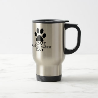 LOVE RED POINT SIAMESE CAT DESIGNS TRAVEL MUG