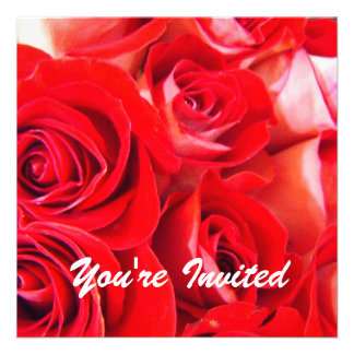 Love red rose flowers blank wedding party custom invites
