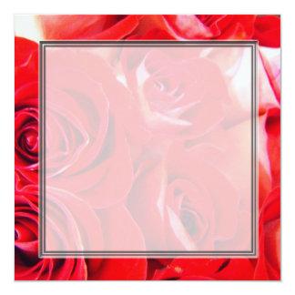 Love red rose flowers blank wedding, party, custom invites