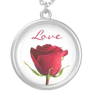 Love Red Rose Silver Pendant Necklace