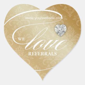 Love Referrals Sticker Jewelry Heart Gold
