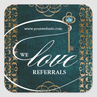 Love Referrals Teal Gold Skeleton Key Book Cover Square Sticker