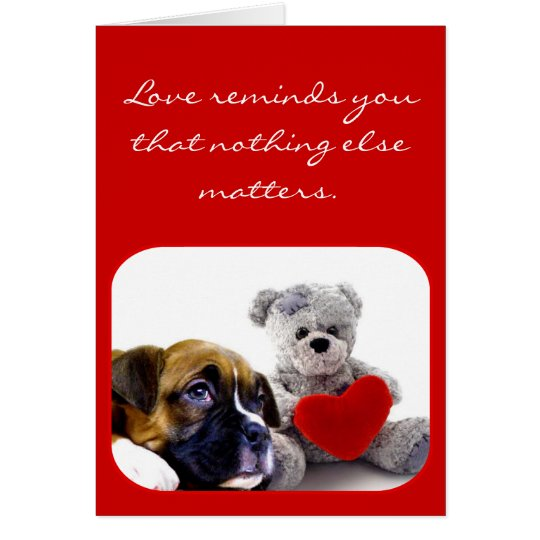 Love Reminds You boxer puppy greeting card